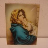 Stampa su vetro bombato della Madonna del riposo anni 40 50 circa